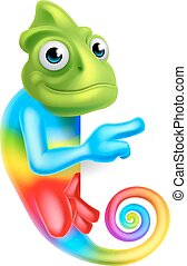 Cartoon Rainbow Chameleon Pointing
