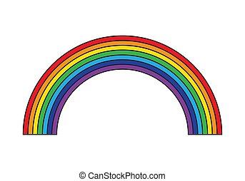 Cartoon rainbow isolated on white background icon