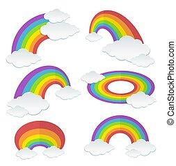 Cartoon Rainbow Set. Vector
