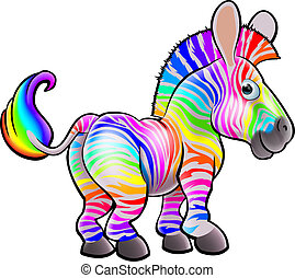 Cartoon Rainbow Zebra