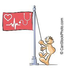 Cartoon raising a cardiology flag