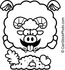 Cartoon Ram Eating - A cartoon illustration of a ram eating.