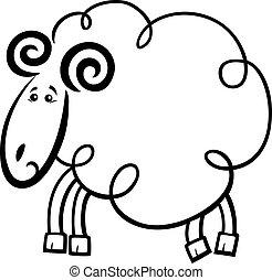Cartoon ram for coloring book