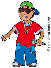 Cartoon rapper on white background - isolated illustration.