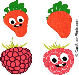 Cartoon raspberry and strawberry in collection