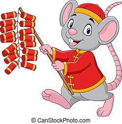 Cartoon rat in chinese traditional costume holding firecracker. Chinese New Year. Year of the rat.