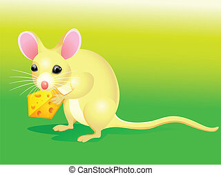 Cartoon rat with cheese