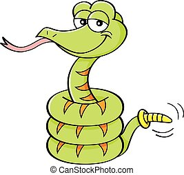 Cartoon illustration of a smiling rattlesnake