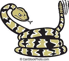 Cartoon Rattlesnake - A cartoon of a coiled rattlesnake.