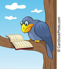 Cartoon raven sits on a tree and reads the book. Vecor illustration.