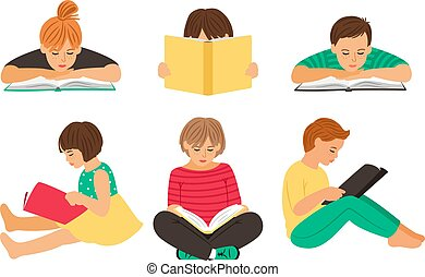Cartoon reading kids