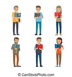 Cartoon Reading people. Male and Female. Books