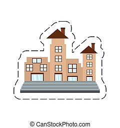 Cartoon Real Estate Apartment Building