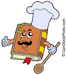 Cartoon recipe book - isolated illustration.