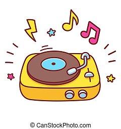 Cartoon record player - Cartoon hand drawn retro vinyl ...