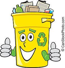 Cartoon Recycling Bin - A smiling yellow cartoon recycling...