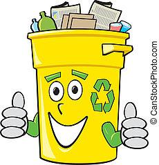 Cartoon Recycling Bin - A smiling yellow cartoon recycling ...