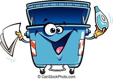 Cartoon recycling trash bin - Happy cartoon smiling recycle...
