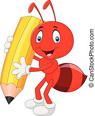Cartoon red ant holding pencil - Vector illustration of...