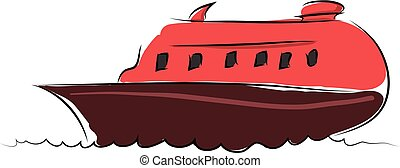 Cartoon red boat vector illustration on white background