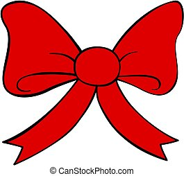Cartoon red bow icon. Doodle style clipart. Hand drawn.