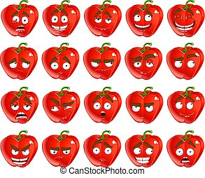 cartoon red Bulgarian pepper smiles - Vector cute cartoon...