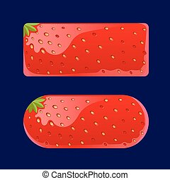 Cartoon red buttons Strawberry