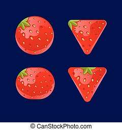 Cartoon red buttons, Strawberry kit for game ui development