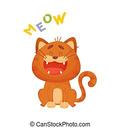 Cartoon red cat. Vector illustration on a white background.
