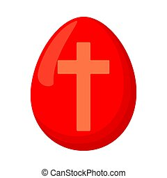 Cartoon red easter egg