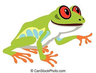 red eye tree frog - cartoon red eye tree frog . Side view...