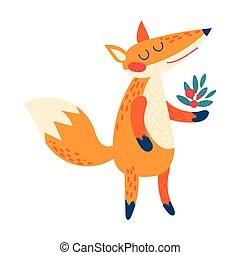 Cartoon red fox. - Cartoon fox. Funny cute animal stands...