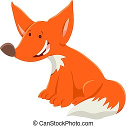 cartoon red fox funny animal character - Cartoon...