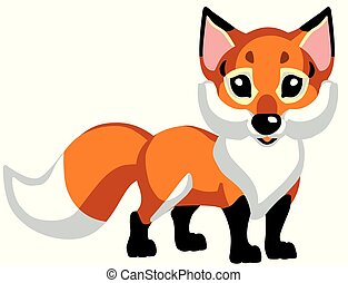 cartoon red fox .Isolated vector for baby and little kid
