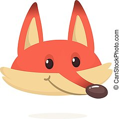 Cartoon red fox. Vector illustration of red smiling fox...