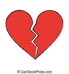 cartoon red heart broken sad separation vector illustration...