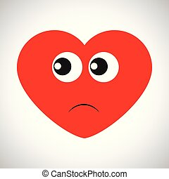 Cartoon red heart with emotions