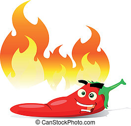 Illustration of a cartoon happy red pepper spice character