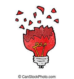 cartoon red light bulb exploding