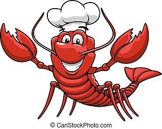 Cartoon red lobster chef in toque cap - Happy cartoon red...