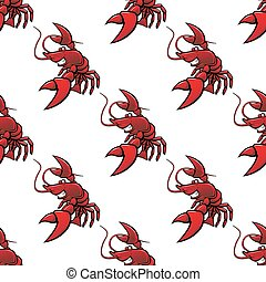 Cartoon red lobsters seamless pattern