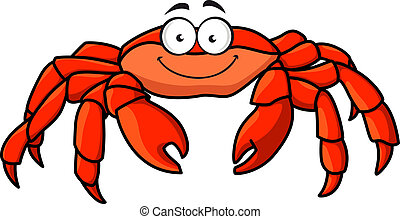 Cartoon red marine crab with big pincer claws and a happy smile, isolated on white