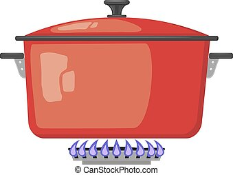 Cartoon red metal pan with the lid closed on a gas stove. Vector image kitchen pan in the fire. Stock vector illustration