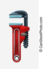 illustration of red cartoon metal pipe wrench isolated on white background
