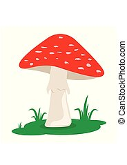 Cartoon red mushrooms on the grass isolated on white background. Forest poison mushroom. Amanita in flat style. Vector illustration