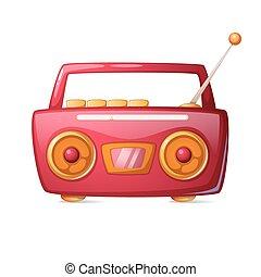 Cartoon red radio. Music icon.
