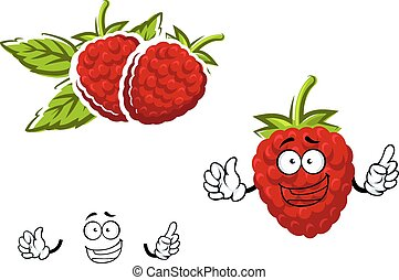 Cartoon red raspberry fruit character