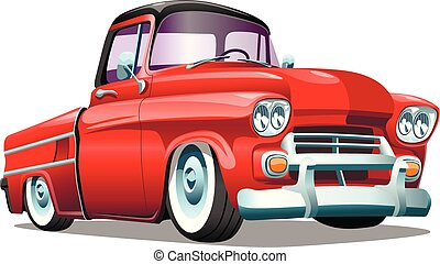 Cartoon red retro truck pickup car, on a white background. ESP Vector illustration.