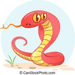 Cartoon red snake. Vector illustration