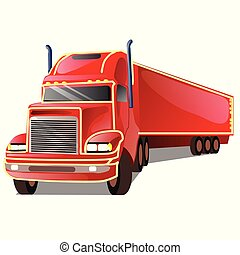Cartoon red truck isolated on white background. Vector cartoon close-up illustration.
